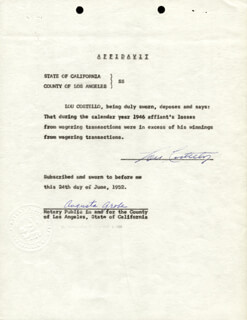 ABBOTT & COSTELLO (LOU COSTELLO) - DOCUMENT SIGNED 06/24/1952