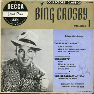Autographs: BING CROSBY - RECORD ALBUM COVER SIGNED