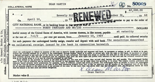 DEAN MARTIN - PROMISSORY NOTE SIGNED 12/31/1968