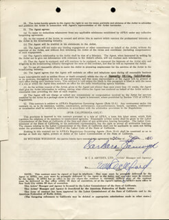 BARBARA STANWYCK - CONTRACT DOUBLE SIGNED 06/26/1950
