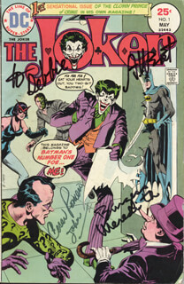 ADAM WEST - INSCRIBED COMIC BOOK SIGNED CIRCA 1975 CO-SIGNED BY: BURGESS MEREDITH, CESAR ROMERO