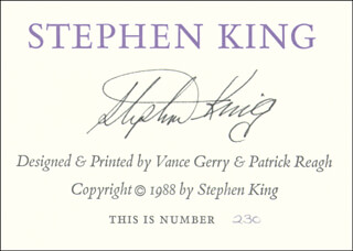 STEPHEN KING - AUTOGRAPHED SIGNED POSTER