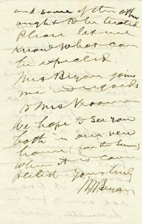 Autographs: WILLIAM JENNINGS BRYAN - AUTOGRAPH LETTER SIGNED 9/25