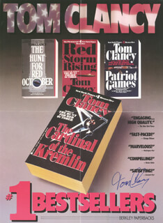 Autographs: TOM CLANCY - POSTER SIGNED