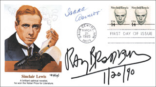 RAY BRADBURY - FIRST DAY COVER SIGNED 01/20/1990 CO-SIGNED BY: ISAAC ASIMOV