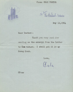 COLE PORTER - TYPED LETTER SIGNED 05/12/1964
