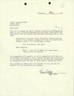 GENE AUTRY - DOCUMENT SIGNED 12/26/1942