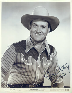 GENE AUTRY - AUTOGRAPHED SIGNED PHOTOGRAPH 12/18/1986