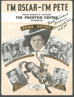 GENE AUTRY - SHEET MUSIC SIGNED 08/03/1989