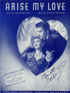 CLAUDETTE COLBERT - SHEET MUSIC SIGNED