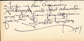 FRANKLIN PANGBORN - AUTOGRAPH NOTE SIGNED 1957