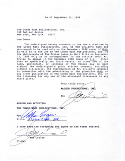Autographs: TOM CRUISE - DOCUMENT DOUBLE SIGNED 09/13/1988 CO-SIGNED BY: ARTHUR COOPER
