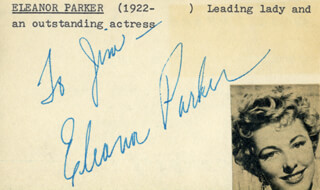 ELEANOR PARKER - INSCRIBED SIGNATURE