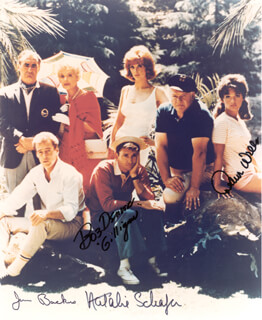 GILLIGAN'S ISLAND TV CAST - AUTOGRAPHED SIGNED PHOTOGRAPH CO-SIGNED BY: JIM BACKUS, BOB DENVER, NATALIE SCHAFER, DAWN WELLS