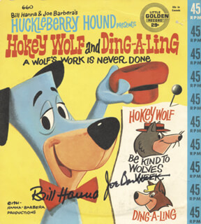 Autographs: BILL HANNA - RECORD ALBUM SLEEVE SIGNED CO-SIGNED BY: JOSEPH BARBERA