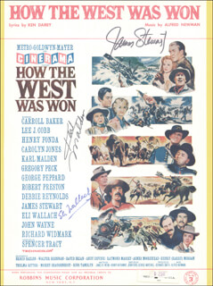 Autographs: HOW THE WEST WAS WON MOVIE CAST - SHEET MUSIC SIGNED CO-SIGNED BY: KARL MALDEN, JAMES JIMMY STEWART, ELI WALLACH