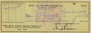 ERNIE KOVACS - AUTOGRAPHED SIGNED CHECK 06/30/1958
