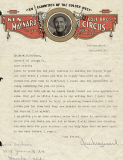 KEN MAYNARD - TYPED LETTER SIGNED 06/24/1940