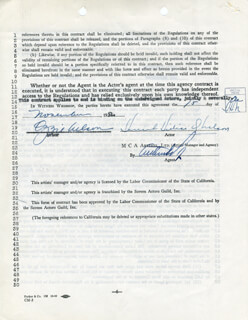 OZZIE NELSON - CONTRACT SIGNED 11/15/1951 CO-SIGNED BY: HARRIET HILLIARD NELSON