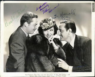 A DATE WITH DESTINY MOVIE CAST (THE MAD DOCTOR) - AUTOGRAPHED INSCRIBED PHOTOGRAPH CO-SIGNED BY: JOHN HOWARD, BASIL RATHBONE, BARBARA JO VERA VAGUE ALLEN