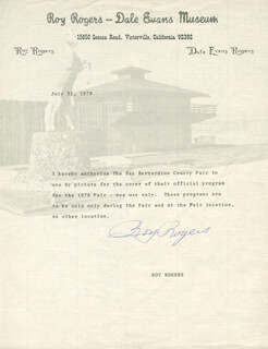 ROY ROGERS - TYPED NOTE SIGNED 07/31/1978