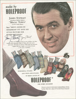 JAMES JIMMY STEWART - ADVERTISEMENT SIGNED CIRCA 1947