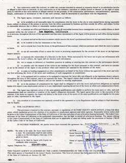 SHARON STONE - CONTRACT SIGNED 02/04/1986