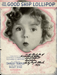SHIRLEY TEMPLE - INSCRIBED SHEET MUSIC SIGNED 1985