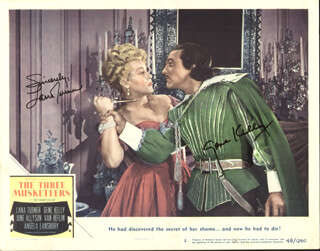 THE THREE MUSKETEERS - LOBBY CARD SIGNED CO-SIGNED BY: GENE KELLY, LANA TURNER