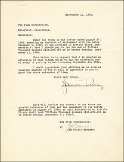 SPENCER TRACY - DOCUMENT SIGNED 09/11/1934