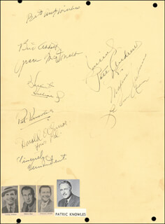 ABBOTT & COSTELLO (BUD ABBOTT) - MENU SIGNED CIRCA 1943 CO-SIGNED BY: PATTY ANDREWS, MAXENE ANDREWS, LAVERNE ANDREWS, PATRIC KNOWLES, HARRIET HILLIARD NELSON, DONALD O'CONNOR, GRACE McDONALD, VERNON DENT, ANDREW TOMBES