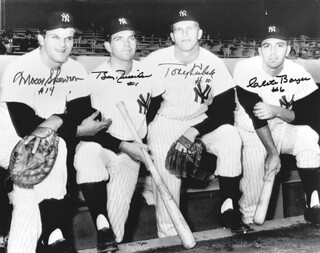 THE NEW YORK YANKEES - AUTOGRAPHED SIGNED PHOTOGRAPH CO-SIGNED BY: BILL MOOSE SKOWRON, CLETE BOYER, BOBBY RICHARDSON, TONY KUBEK