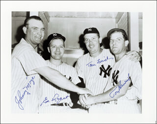 EDDIE LOPAT - AUTOGRAPHED SIGNED PHOTOGRAPH CO-SIGNED BY: TOM FERRICK, JOHNNY MIZE, TOMMY HENRICH