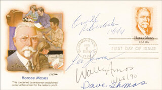 LEE IACOCCA - FIRST DAY COVER SIGNED 11/25/1990 CO-SIGNED BY: ORVILLE REDENBACHER, WALLY FAMOUS AMOS AMOS, DAVE THOMAS
