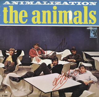 Autographs: THE ANIMALS - RECORD ALBUM COVER SIGNED CO-SIGNED BY: THE ANIMALS (ERIC BURDON), THE ANIMALS (BRYAN CHAS CHANDLER)