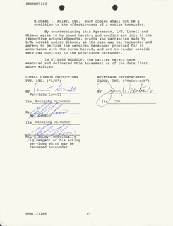 MEL GIBSON - CONTRACT DOUBLE SIGNED 12/12/1986