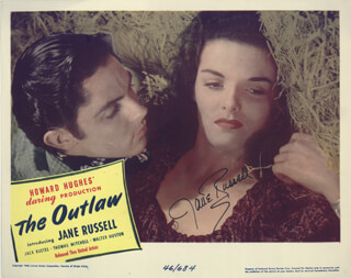 Autographs: JANE RUSSELL - LOBBY CARD SIGNED