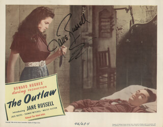 Autographs: JANE RUSSELL - LOBBY CARD SIGNED CIRCA 1946