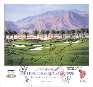 Autographs: PAYNE STEWART - POSTER SIGNED 1996 CO-SIGNED BY: TOM KITE JR., FUZZY ZOELLER, CURTIS N. STRANGE, SANDY LYLE, JOHN COOK, JOHN ELWAY, BRAD FAXON, JOHN DENVER, STEVE GARVEY, ENGELBERT HUMPERDINCK, LESLIE NIELSEN, ANDY WILLIAMS, BILLIE ANDRADE, DAVE CHAPPLE
