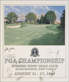 Autographs: JACK NICKLAUS - POSTER SIGNED 1997 CO-SIGNED BY: LARRY NELSON, NICK FALDO, HAL E. SUTTON, PETER JACOBSEN, FRED COUPLES, BRAD FAXON, STEVE GARVEY, PHIL MICKELSON, JOSE MARIA OLAZABAL MANTEROLA, JUSTIN LEONARD
