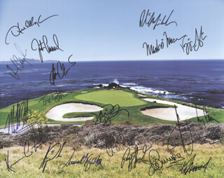 TIGER WOODS - AUTOGRAPHED SIGNED PHOTOGRAPH CO-SIGNED BY: PAYNE STEWART, BEN CRENSHAW, KEVIN COSTNER, KEN GRIFFEY JR., COREY PAVIN, FRED COUPLES, MARK O'MEARA, MICHAEL BOLTON, VIJAY SINGH, TOM WATSON, CHRIS O'DONNELL, PHIL MICKELSON, JUSTIN LEONARD
