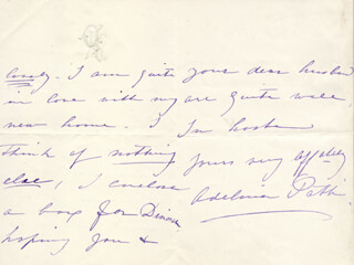 MADAME ADELINA PATTI - AUTOGRAPH LETTER SIGNED 06/19/1880