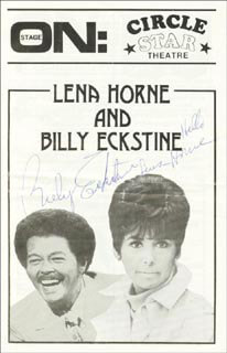 LENA HORNE - PROGRAM SIGNED CO-SIGNED BY: BILLY ECKSTINE