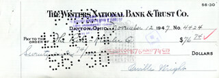 ORVILLE WRIGHT - AUTOGRAPHED SIGNED CHECK 11/12/1947
