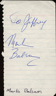MARTIN BALSAM - INSCRIBED SIGNATURE