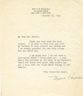 FIRST LADY ELEANOR ROOSEVELT - TYPED LETTER SIGNED 10/31/1945