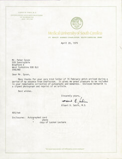 DR. ALBERT B. SABIN - TYPED LETTER SIGNED 04/20/1979