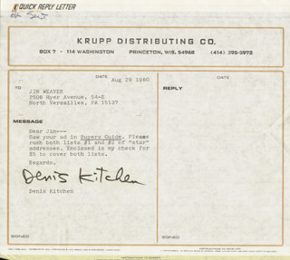 DENIS KITCHEN - TYPED NOTE SIGNED 08/29/1980
