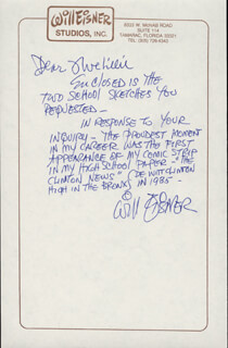 WILL EISNER - AUTOGRAPH LETTER SIGNED
