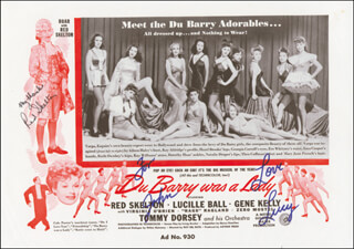DU BARRY WAS A LADY MOVIE CAST - INSCRIBED ADVERTISEMENT SIGNED CO-SIGNED BY: LUCILLE LUCY BALL, RED SKELTON